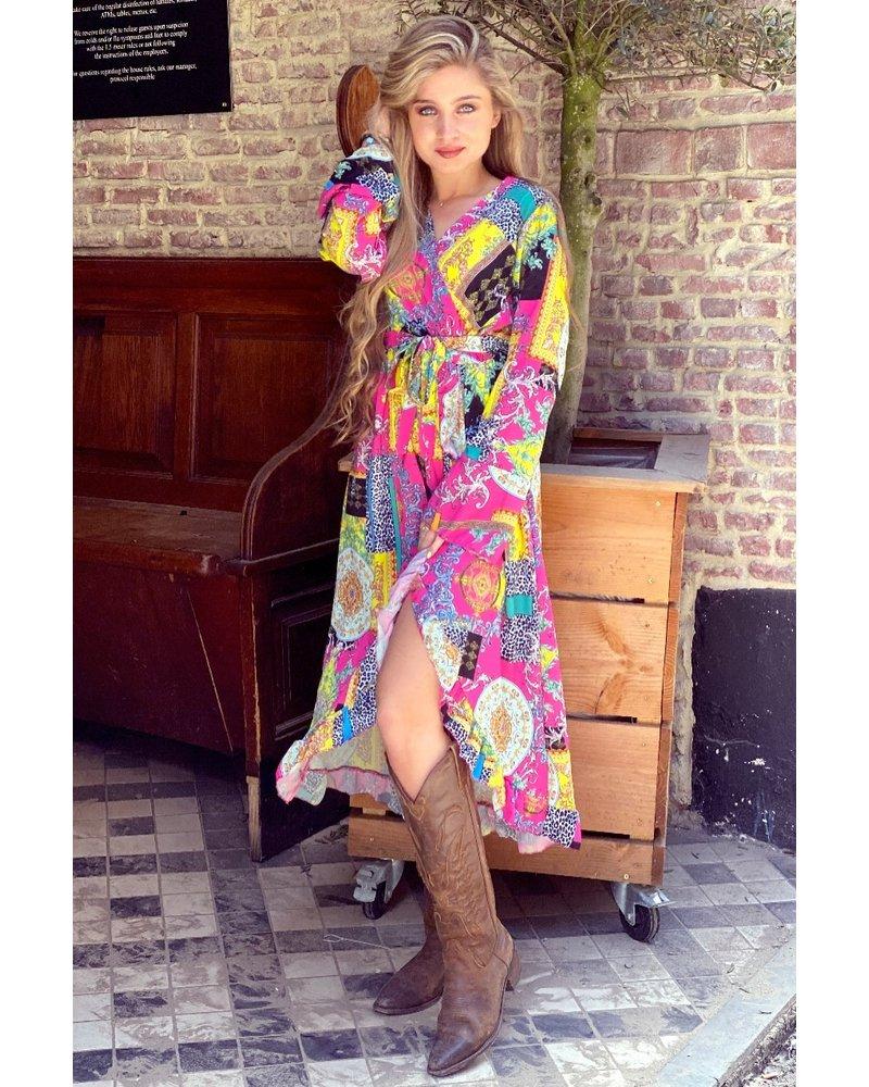 Pattern Split Midi Dress - Fuchsia