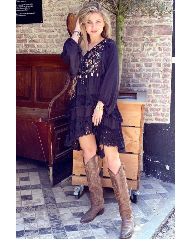 Phoebe Bohemian Dress - Black