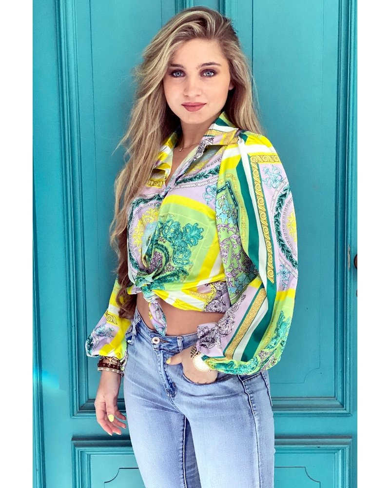 Cropped Silk Pattern Blouse - Green / Yellow