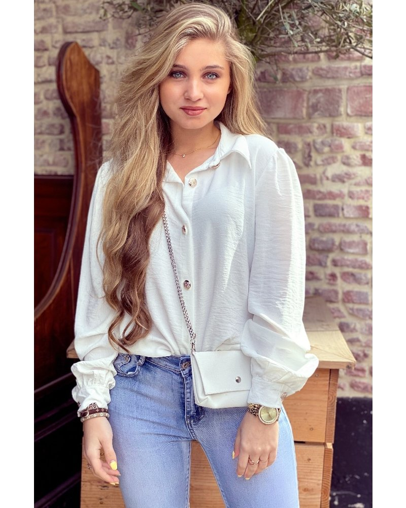 Ruby Blouse with Bag - White / Silver
