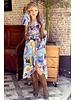 Pattern Split Midi Dress - Blue