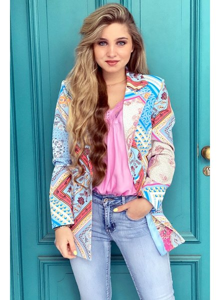 Liv Pattern Blazer - Light Blue / Coral