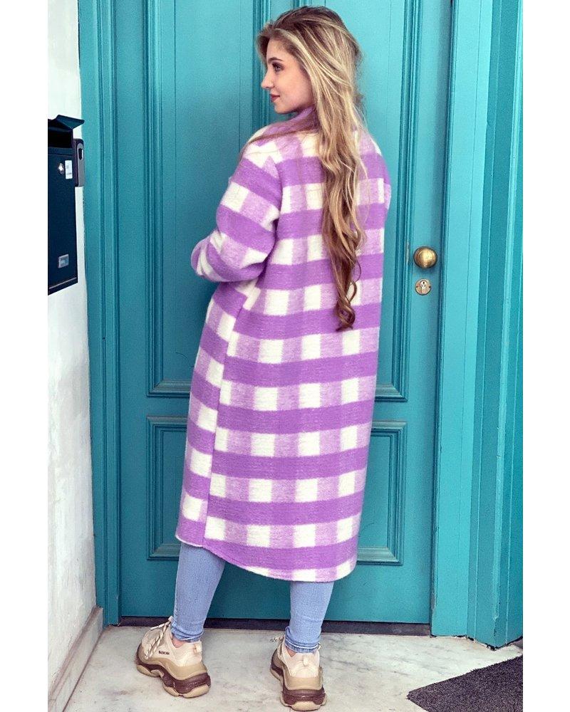 Anna Checkered Coat - Lilac / White