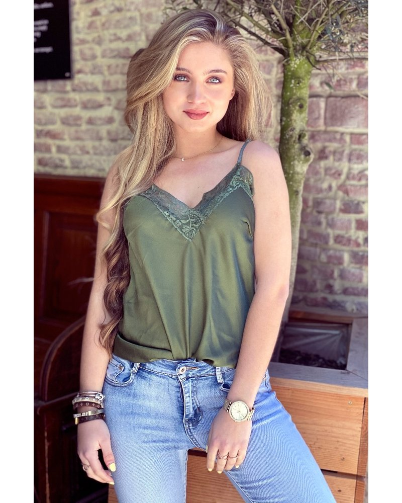 Nora Lace Top - Army Green