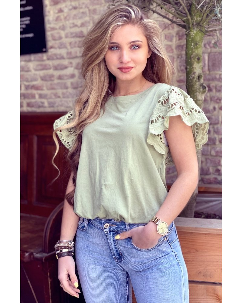 Milou Short Sleeve Lace Top - Army Green