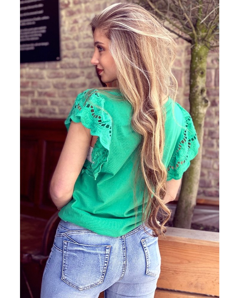 Milou Short Sleeve Lace Top - Green