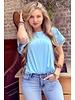 Milou Short Sleeve Lace Top - Light Blue