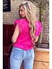 Milou Short Sleeve Lace Top - Fuchsia
