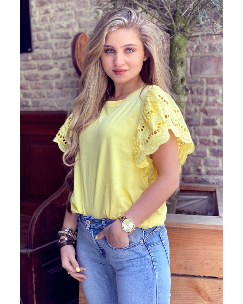 Milou Short Sleeve Lace Top - Yellow