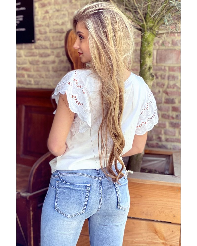 Milou Short Sleeve Lace Top - White