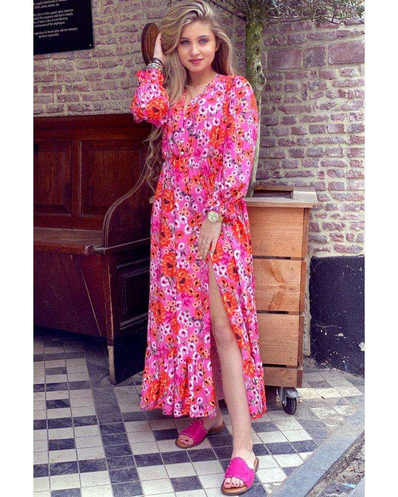 Leah Flower Dress - Fuchsia