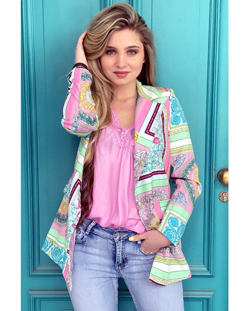 Harper Pattern Blazer - Mint /Pink
