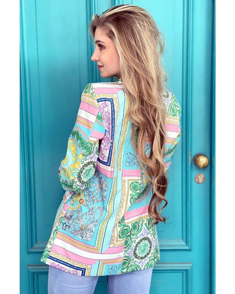Harper Pattern Blazer - Turquoise
