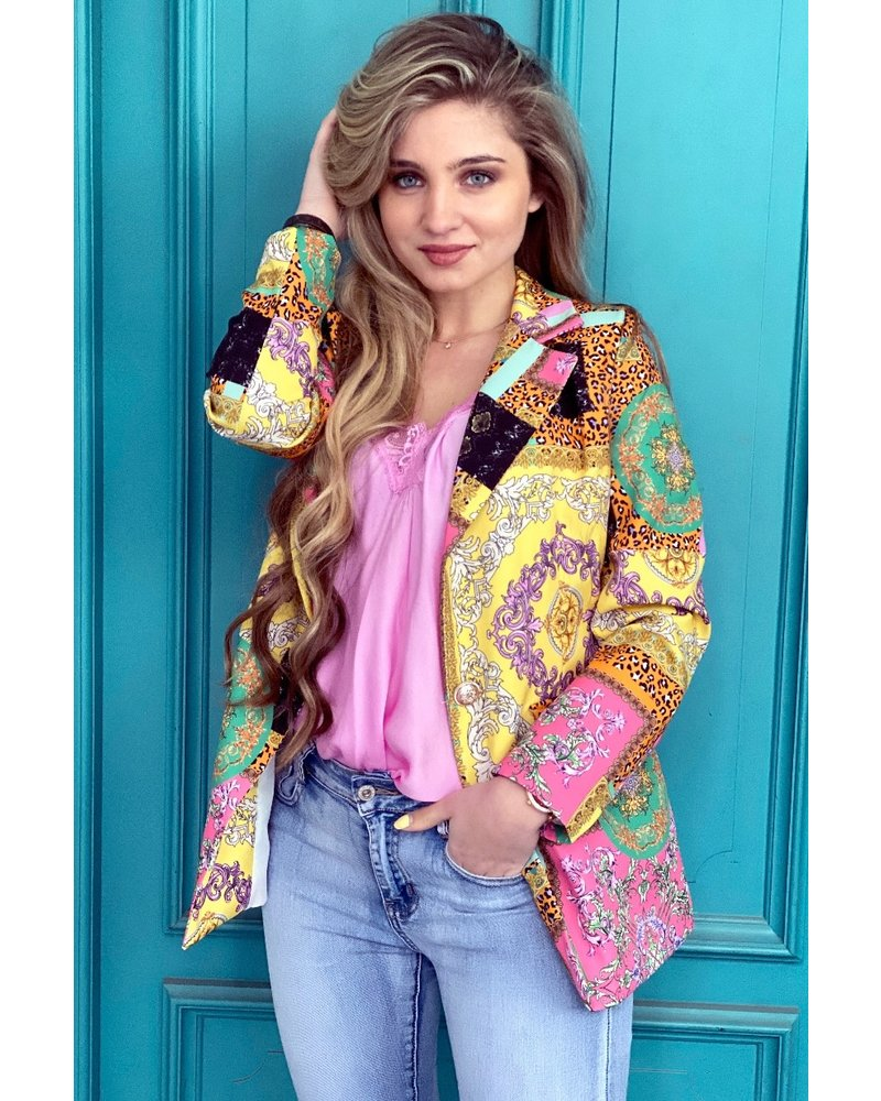 Leopard Pattern Blazer - Yellow / Pink