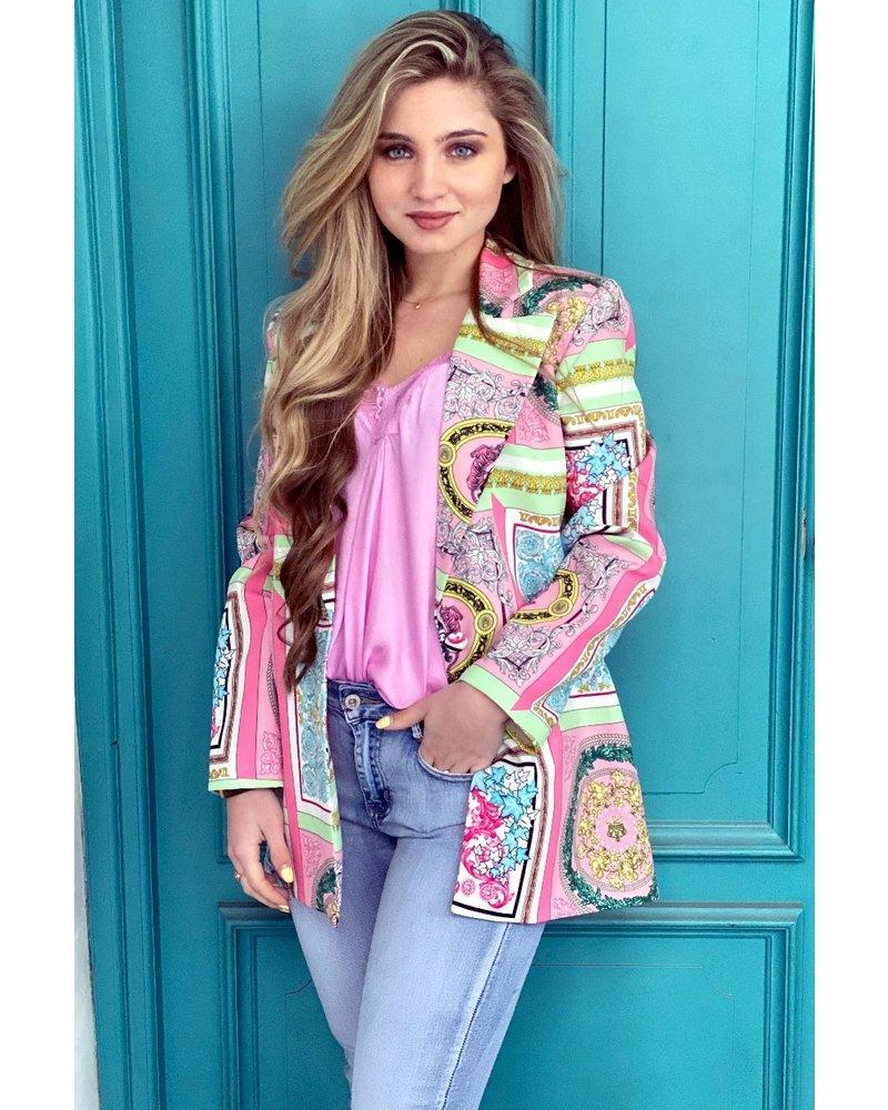 Liv Pattern Blazer - Green / Pink