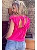 Sofia Short Sleeve Ruffle Top - Fuchsia