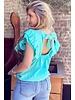 Sofia Short Sleeve Ruffle Top - Turquoise