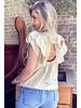 Sofia Short Sleeve Ruffle Top - Beige