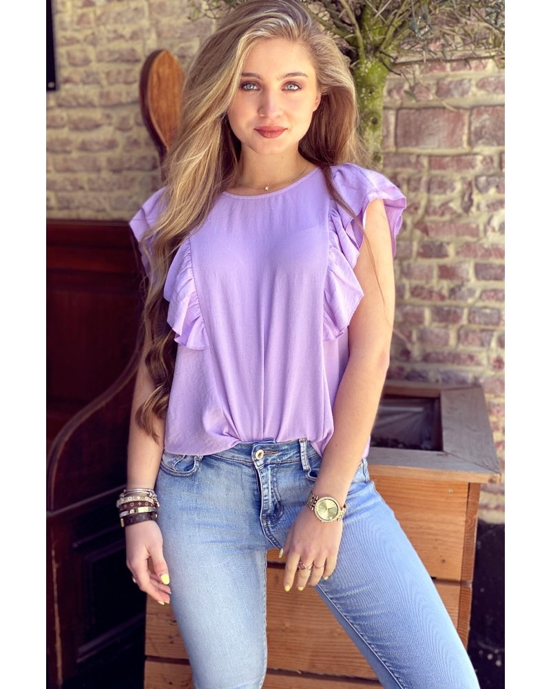 Sofia Short Sleeve Ruffle Top - Lilac