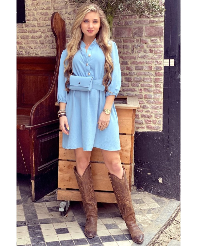 Tessa Dress With Bag- Light Blue