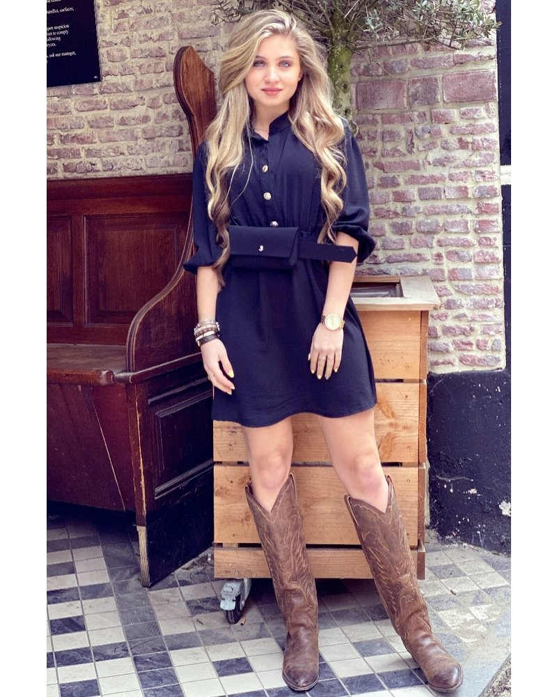 Tessa Dress With Bag- Black