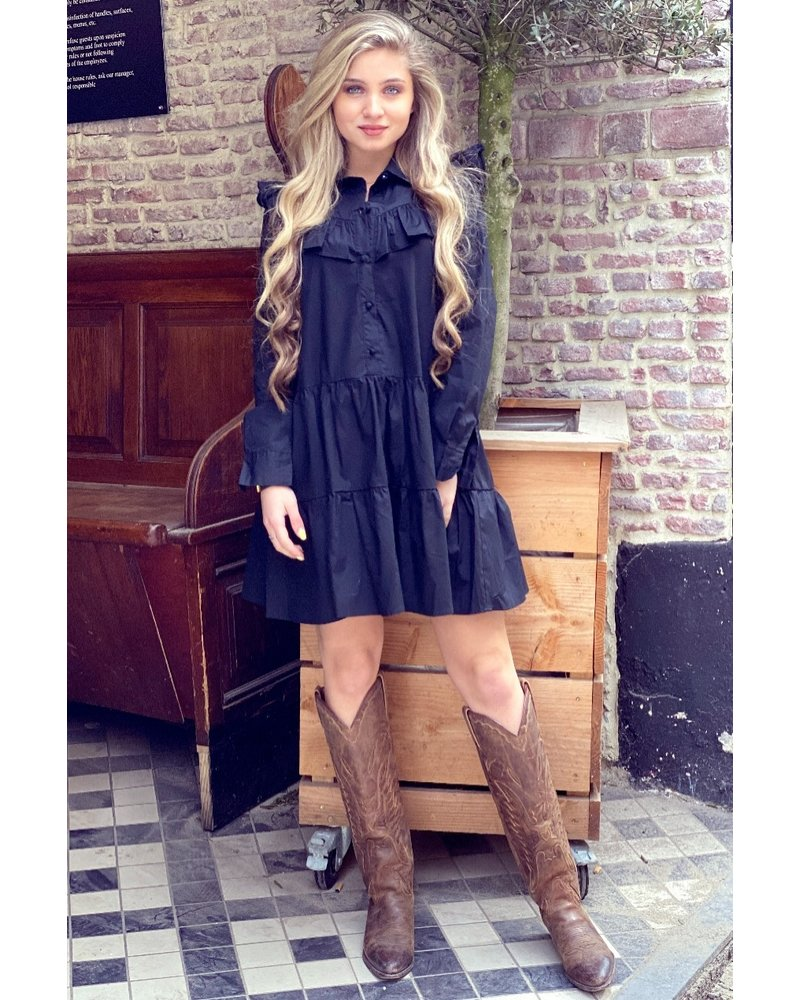 Alicia Blouse Dress - Black