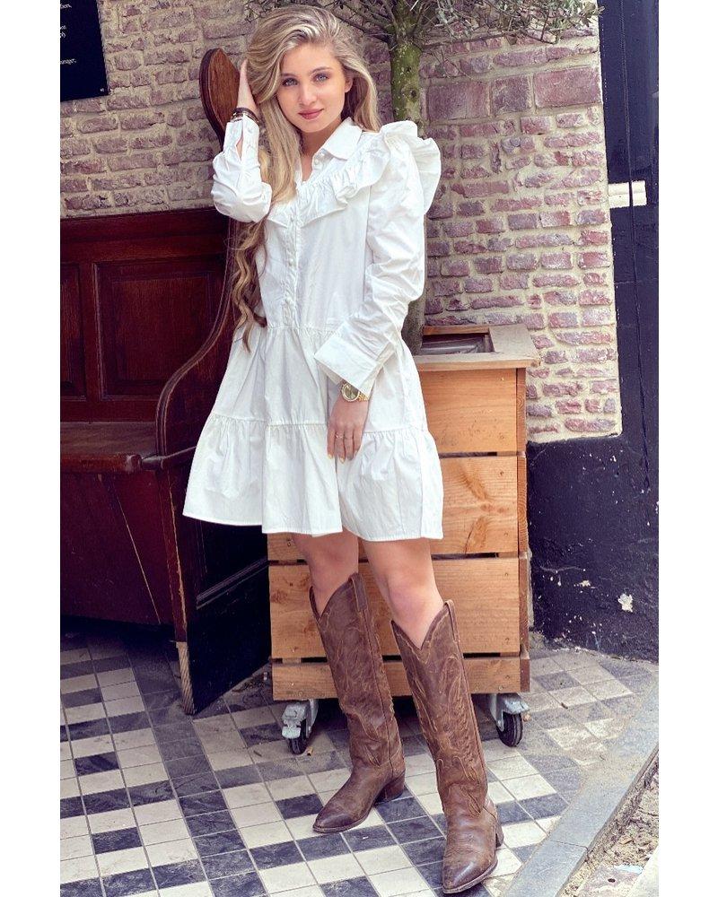 Alicia Blouse Dress - White