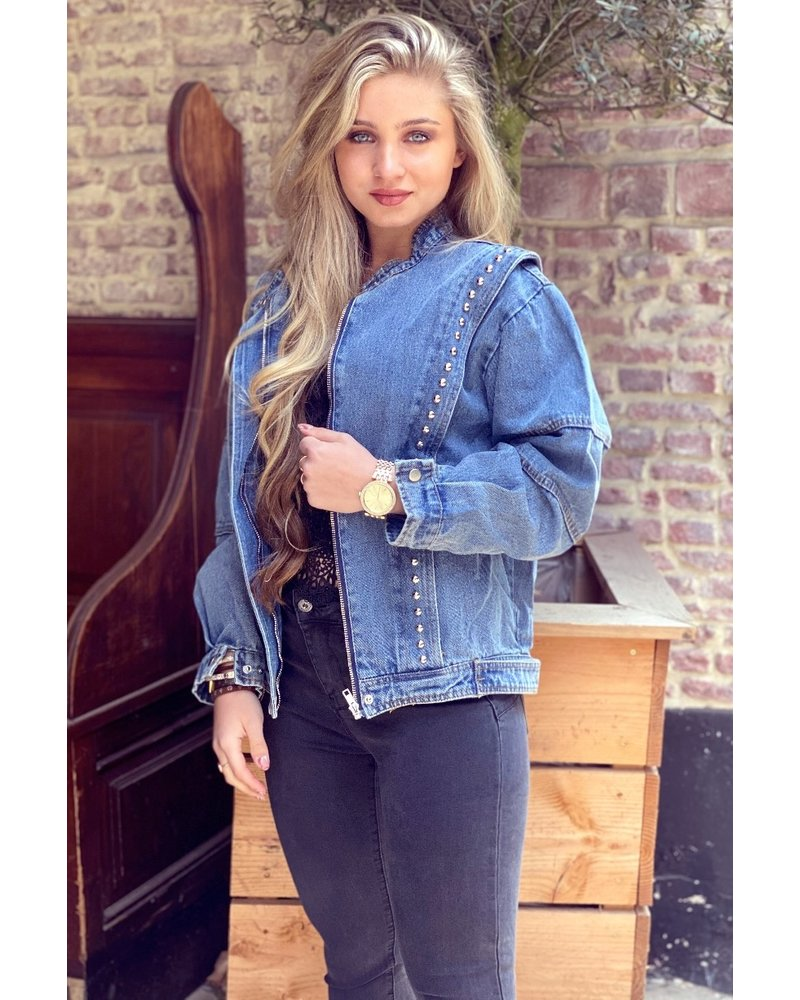 Studded Bomber Jacket - Denim