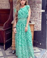 Leopard Maxi Dress - Green