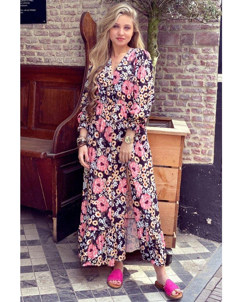 Leah Flower Dress - Black