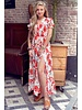 Leah Short Sleeve Flower Dress - White Orange