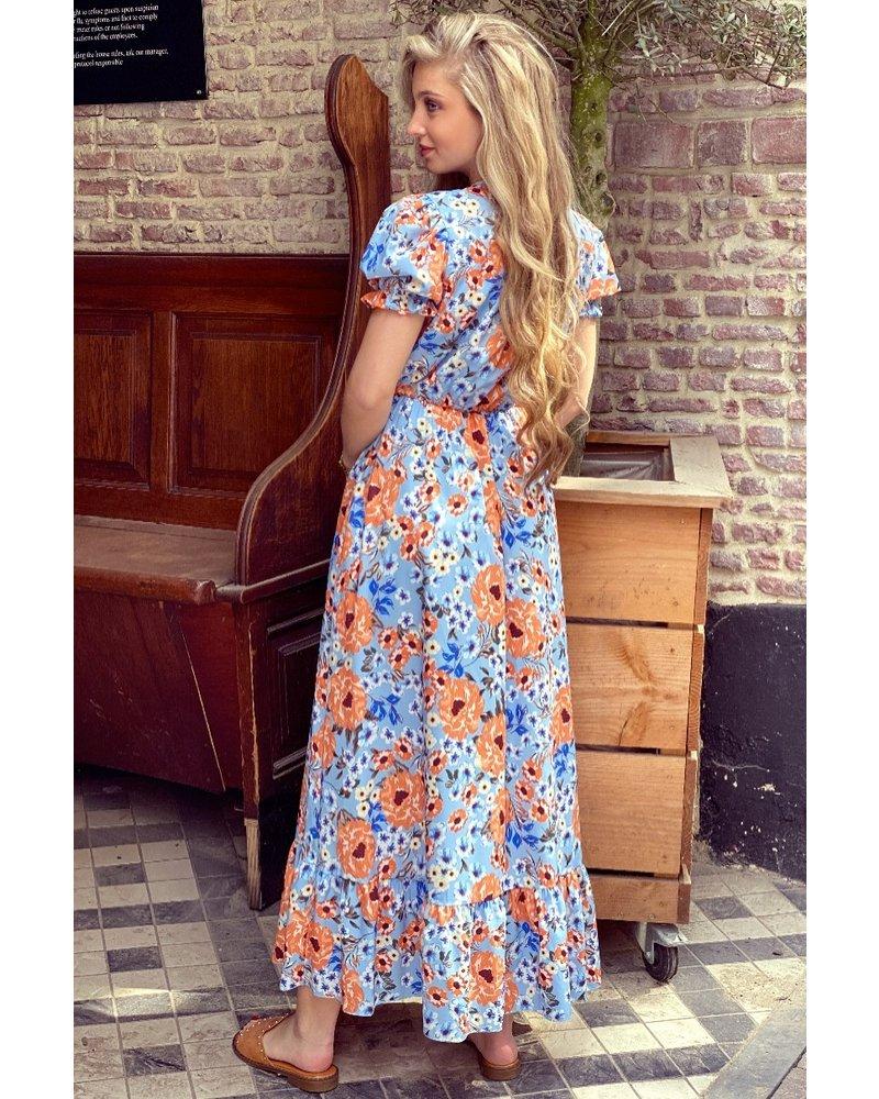 Leah Short Sleeve Flower Dress - Light Blue