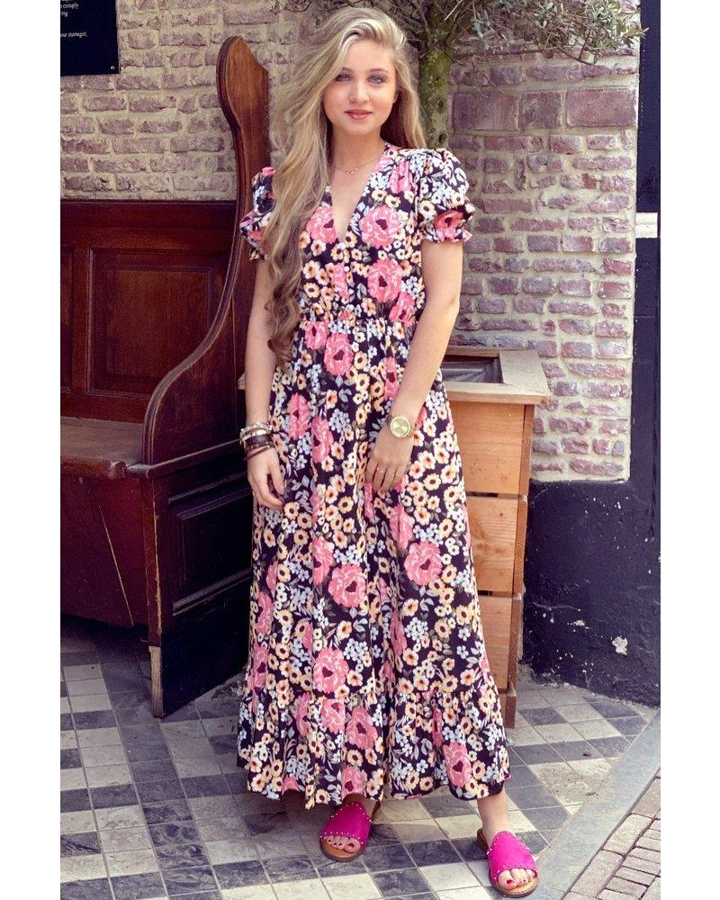 Leah Short Sleeve Flower Dress - Black