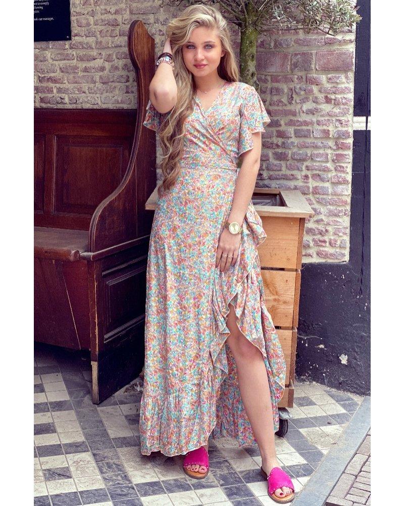 Cecilia Short Sleeve Maxi Dress - White / Multicolour