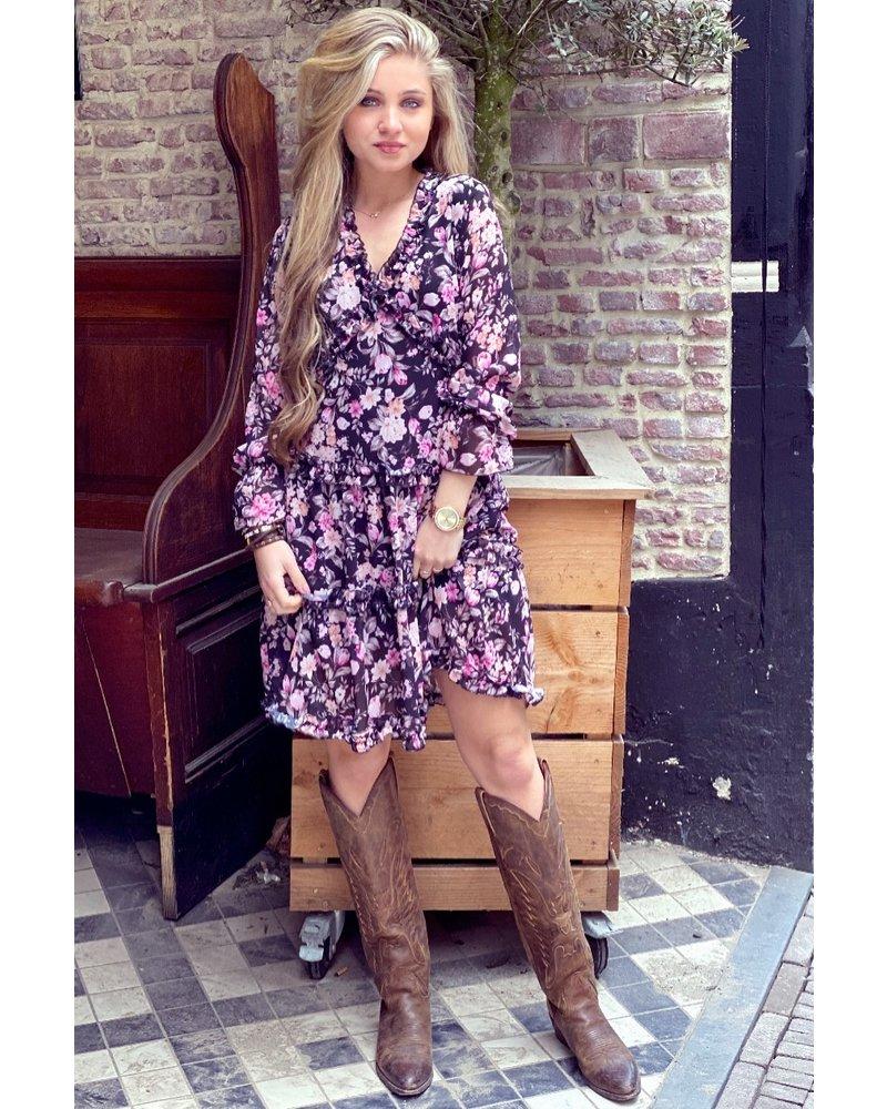 Lydia Flower Dress - Black