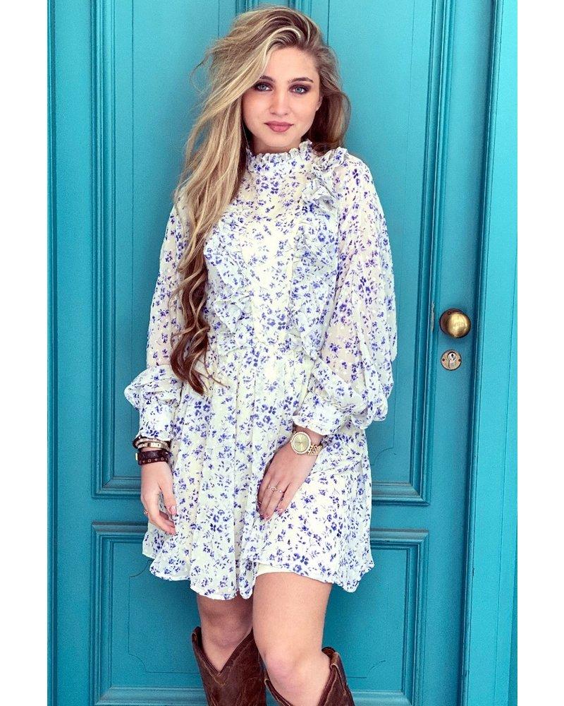 Hope Flower Ruffle Dress - White / Blue