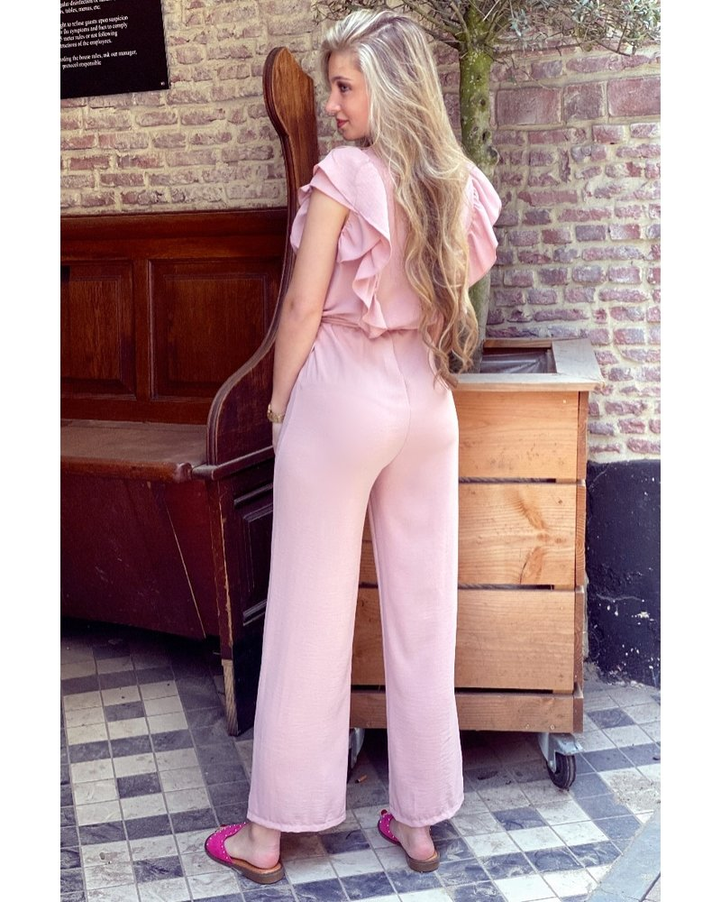 Nicole Ruffle Jumpsuit - Light Pink