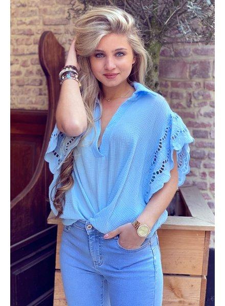 Oversized Lace blouse -  Blue