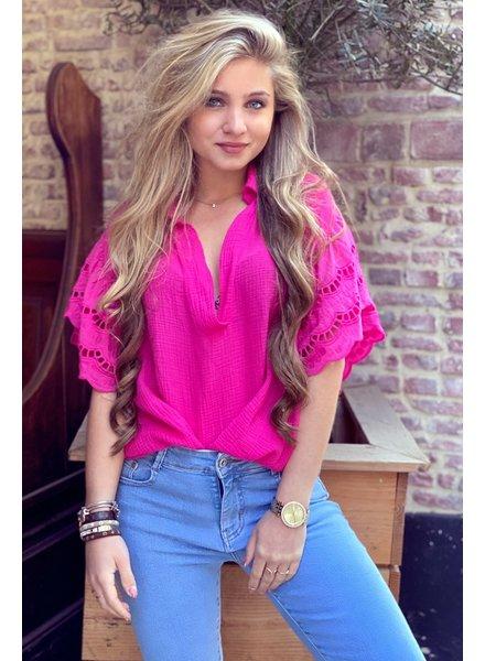 Oversized Lace blouse -  Fuchsia