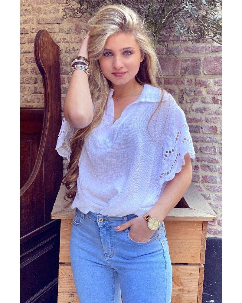 Oversized Lace Blouse - White