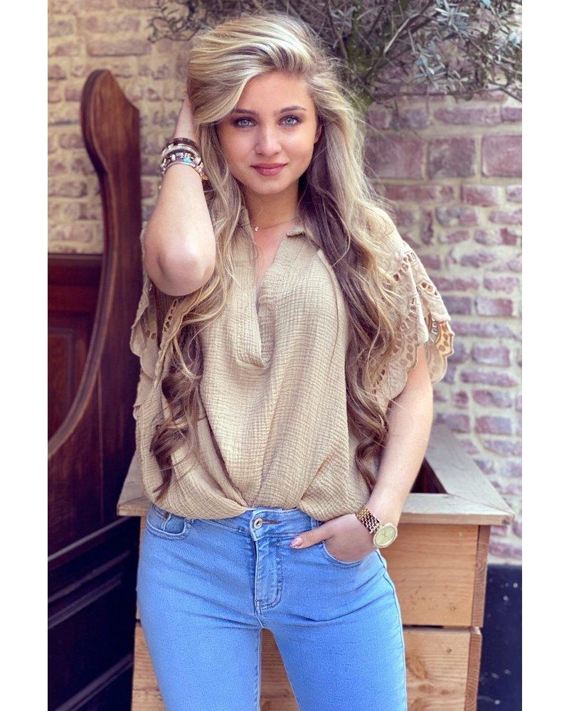 Oversized Lace Blouse - Camel