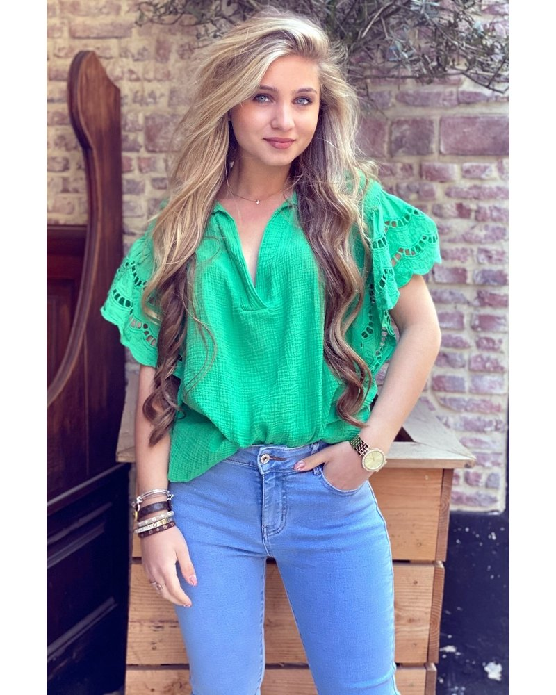 Oversized Lace Blouse - Green