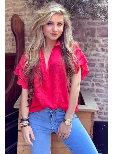 Oversized Lace blouse -  Red