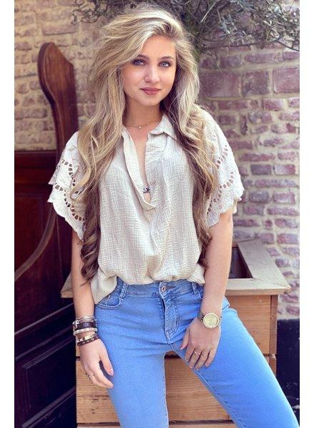 Oversized Lace blouse -  Beige