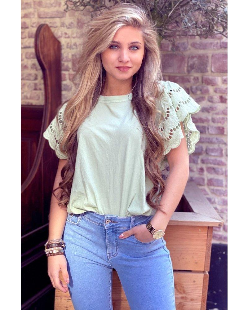 Milou Short Sleeve Lace Top - Light Green