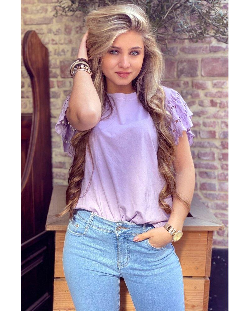 Milou Short Sleeve Lace Top - Lilac