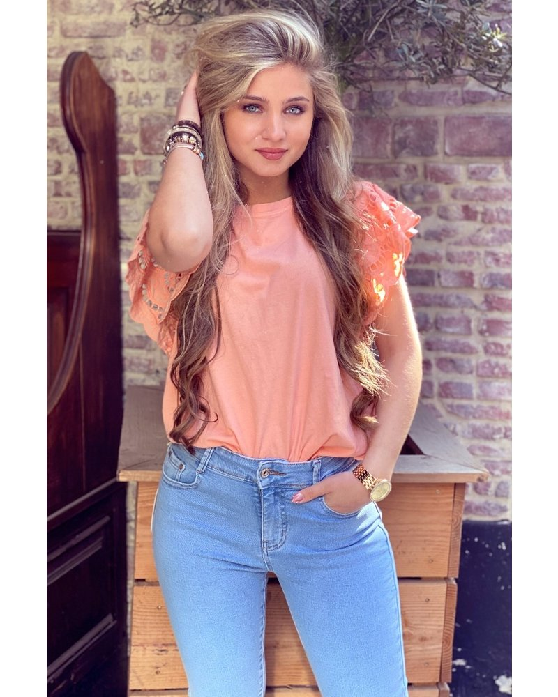 Milou Short Sleeve Lace Top - Peach