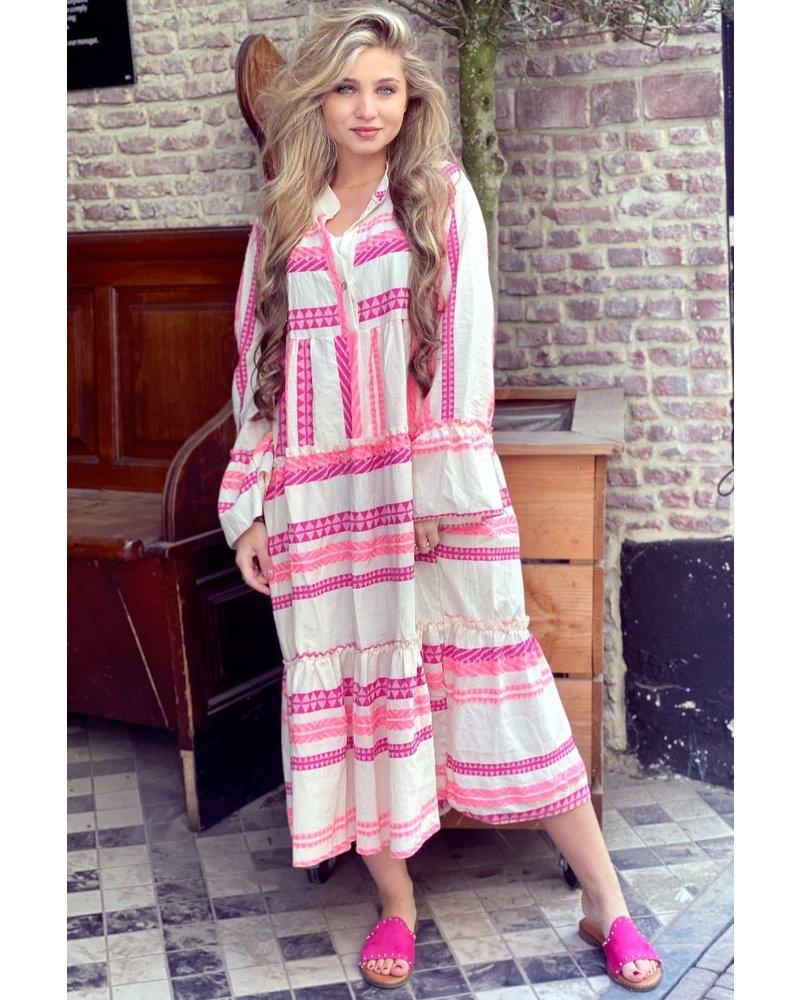 Noor Long Aztec Dress - Pink / Purple