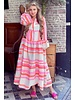 Noor Long Neon Aztec Dress - Pink / Orange