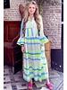 Noor Long Neon Aztec Dress - Blue / Yellow